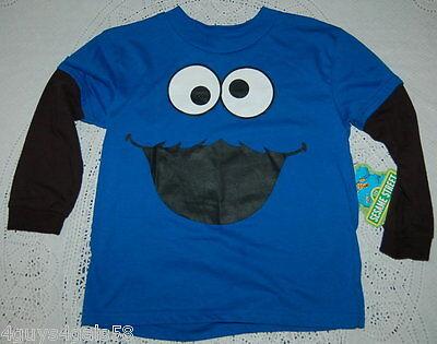 Boys tee shirt SESAME STREET Cookie Monster BLUE Long Sleeves  2XL 18 - Cookie Sleeves