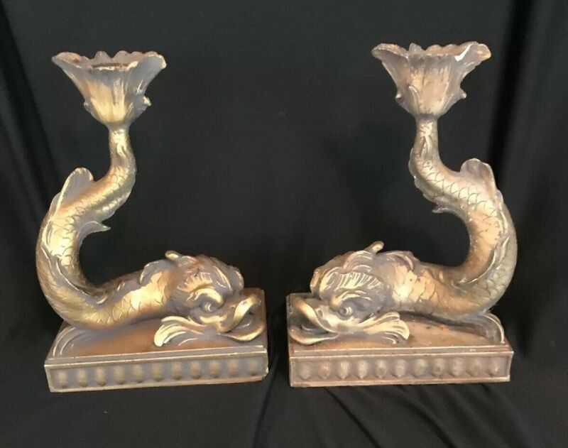Vintage Antique Chinese Koi Fish Candlestick Gold Bookends Figurines Heavy