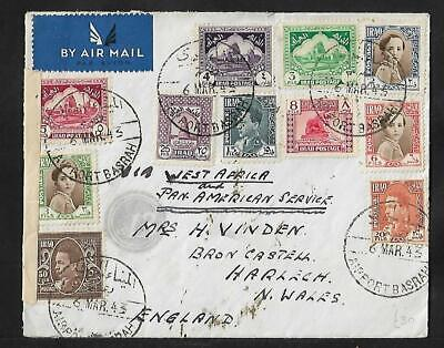 IRAQ TO UK AIR MAIL VIA WEST AFRICA MULTIFRANKED COVER 1943 RARE