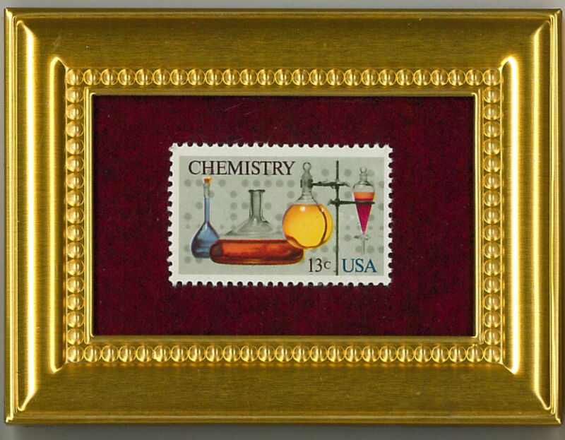 CHEMISTRY SCIENCE -   A GLASS FRAMED COLLECTIBLE POSTAGE MASTERPIECE!