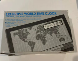 Executive World Time Clock   Access To 27 World Time Zones & Calendar ~ New ~