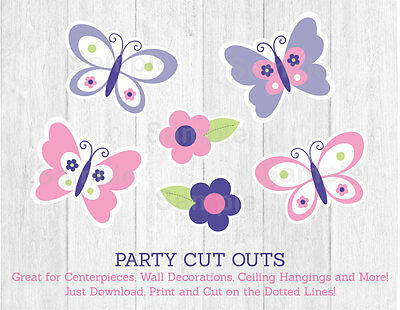 Butterfly Party Decor (Pink & Purple Butterfly Party Cutouts Decorations)