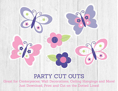 Pink & Purple Butterfly Party Cutouts Decorations Printable](Butterfly Party Decor)