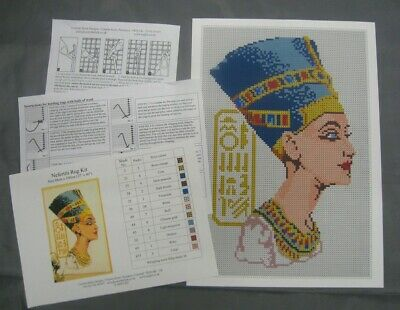 Nefertiti Latch Hook Rug Kit, a Readicut design in pure wool with colour chart Latch Hook Hooking Rugs Charts
