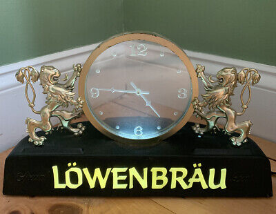 VINTAGE 1980's LOWENBRAU BEER SIGN LIGHT & FLOATING CLOCK