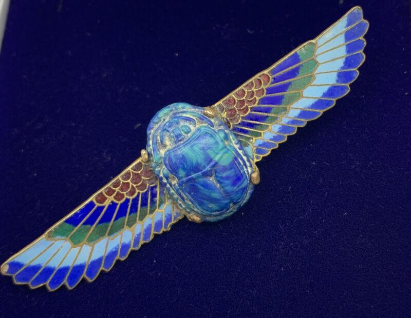 Impressive Egyptian Revival Scarab Brooch With Enamel