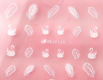 White Swans Classic Feathers 3D Nail Art Sticker Decals UV Gel Manicure