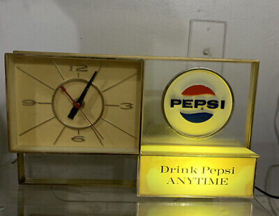Vintage Light Up Pepsi Desk Clock By The Hollis Press Inc Working Condition