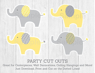 Yellow & Grey Elephant Party Cutouts Decorations Printable