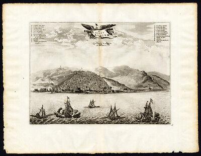 Rare Antique Print-ALGIERS-ALGERIA-AFRICA-SHIP-SEA BATTLE-Pieter van der Aa-1725
