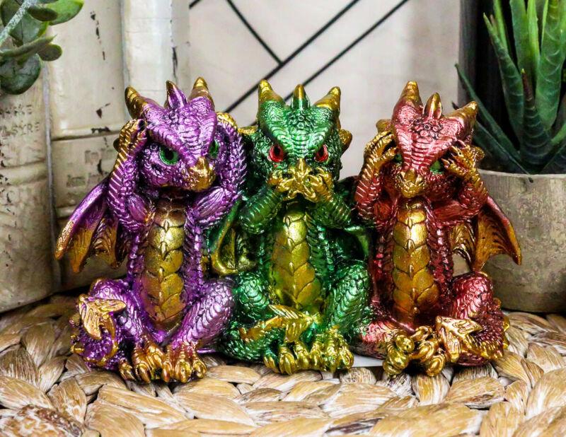 "Ebros Metallic Three Wise Baby Dragon Set See Hear Speak No Evil Statue 3.5""H"
