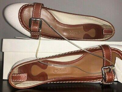 NIB RARE! CHLOE Mary-Jane Buckle Ballerina Flats/Shoes 40EU White/Cognac Leather Textured White Ballerina