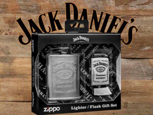 Jack Daniels Embossed 3 oz Hip Flask with Old No. 7 Label Zippo Lighter Gift Set
