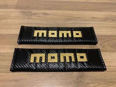 2X Seat Belt Pads Carbon Gifts Momo Car Tuning Custom Steering Wheels Hubs Italy, used for sale  Bedford