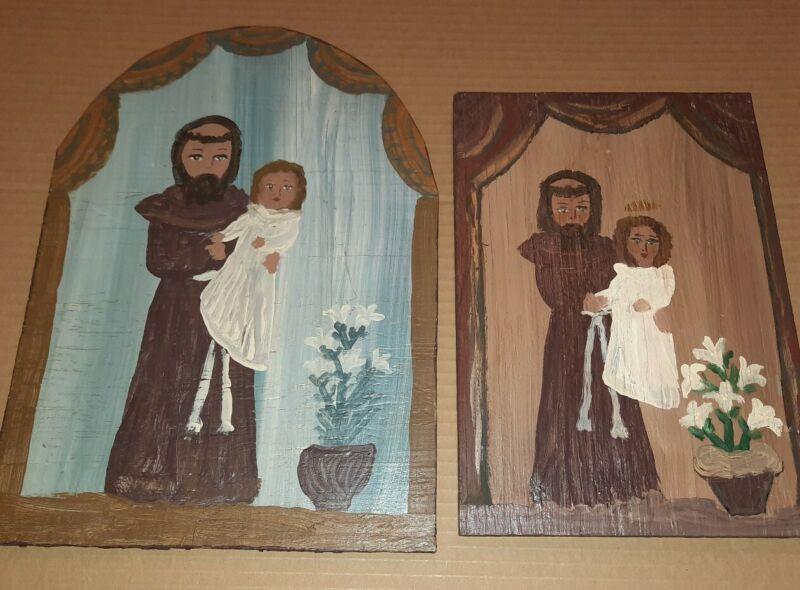 CARMEN ROMERO VELARDE (2) Original SIGNED Wood Retablo TAOS New Mexico Folk Art