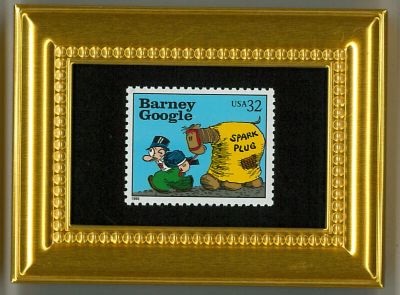 BARNEY GOOGLE - A COLLECTIBLE GLASS FRAMED POSTAGE MASTERPIECE!