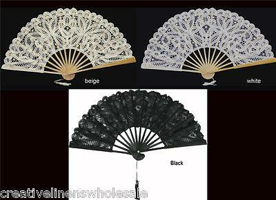 Victorian Battenburg Lace Wedding Bridal Fan White, Beige, Black Creative Linens