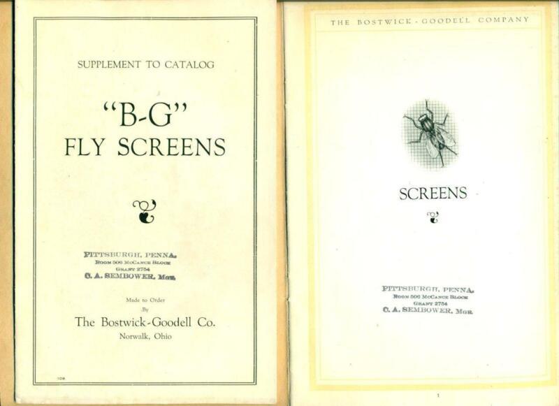 1918 DOOR & WINDOW SCREEN CATALOG BOSTWICK GOODELL Norwalk OHIO FLY SCREENS