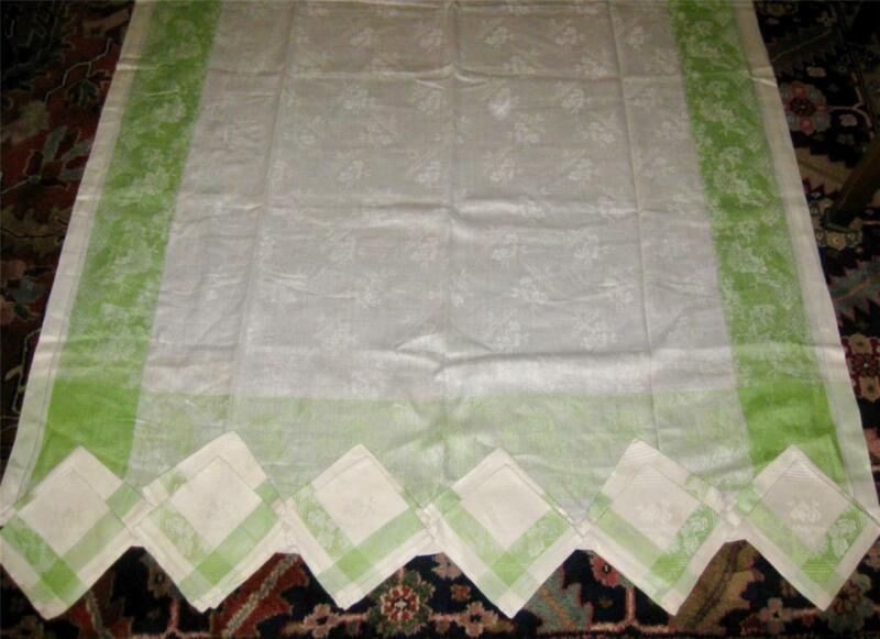 "antique ART DECO Damask Linen 92x56 GREEN & WHITE TABLECLOTH Set 12 NAPKINS 14"""