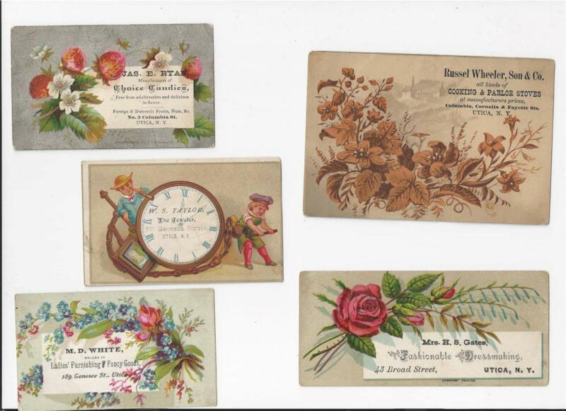 LOT OF 9 UTICA NEW YORK VICTORIAN TRADE CARDS