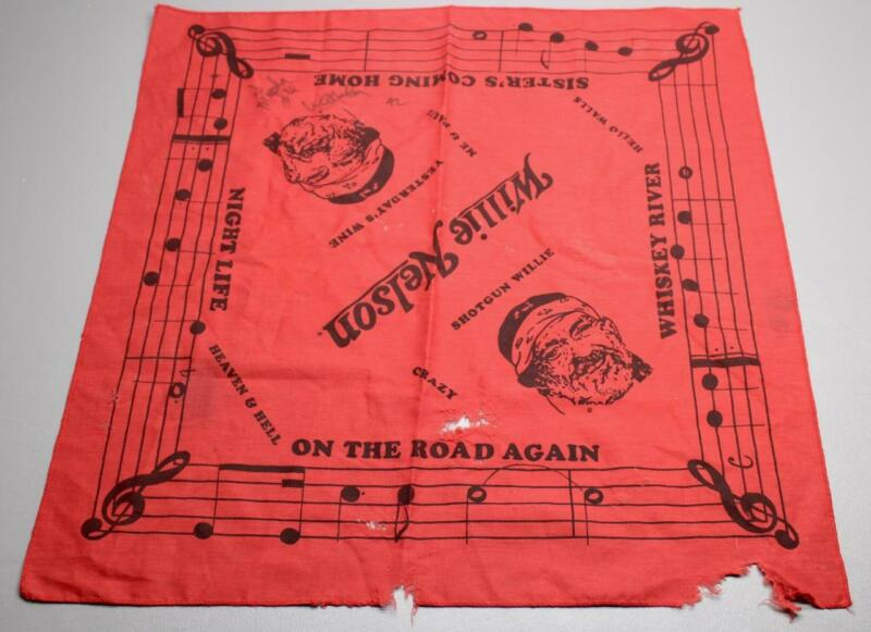 VINTAGE 1992 WILLIE NELSON RED BANDANNA • SIGNED • NO COA