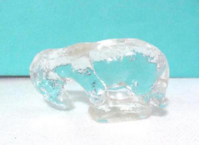 Vintage Alley Agate Co Pressed Clear Glass Donkey Burro Miniature Figurine 1930s