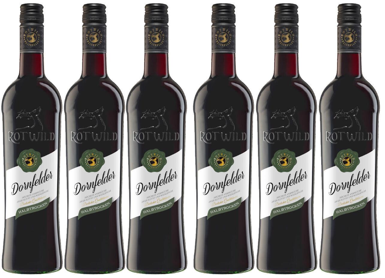 Weinpaket Rotwild Dornfelder, halbtrocken, 6 Flaschen á 0,75 l