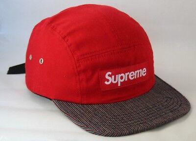97879c3bbdcd6 Supreme Canvas Stripe Visor Red S S 2012 Camp Cap 5 Panel Hat Deadstock