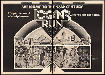 Logans Run  Original 1976 Trade Print Ad   Poster  Movie Promo  Farrah Fawcett