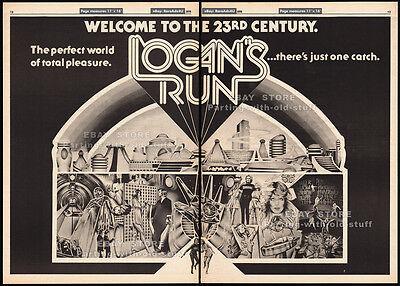 Logans Run  Original 1976 Trade Print Ad   Poster  Movie Promo  Farrah Fawcett