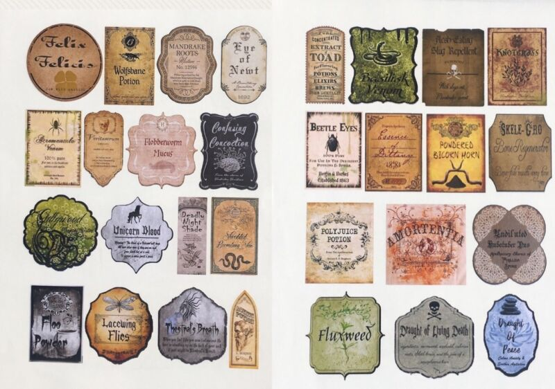 """30 Stickers 2"""" Tall Potion Label Apothecary Adhesive Labels Harry Potter"""