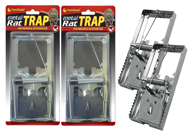 2 x METAL RAT TRAP PEST CONTROL RODENT INDOOR OUTDOOR CATCHER LARGE