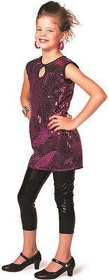 70er Disco Paillettenkleid pink für Kinder NEU - Mädchen Karneval Fasching Verkl