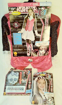MONSTER HIGH DRACULAURA COSTUME + FRANKIE WIG & MAKEUP KIT HALLOWEEN FREE SHIP