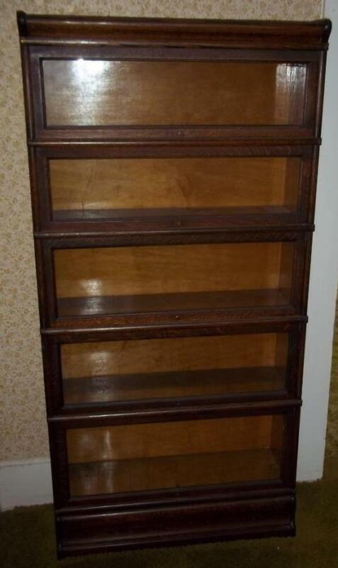 ANTIQUE GLOBE-WERNICKE 5 SECTION SECTIONAL BOOKCASE, QUARTERED OAK GOLDEN