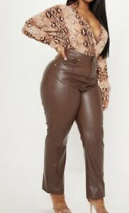 Faux Leather Brown Trousers