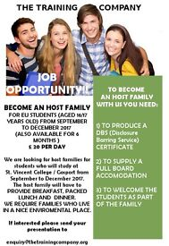 JOB OPPORTUNITY, HOST FAMILIES REQUIRED IN GOSPORT