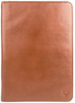 New Hidesign Leather Zip File Folder Writing Padfolio With Tablet Pocket Tan