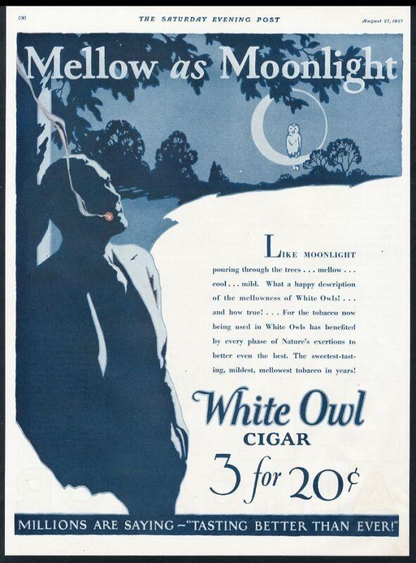 1927 White Own cigar full moon smoking man Mellow As Moonlight vintage print ad