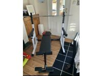 Weight bench, weight rack, dumbbells, barbell and weights