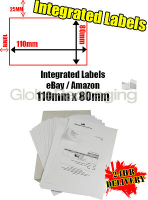 8000 x EBAY / AMAZON A4 INTEGRATED LABELS 110x80mm (S11 / G11) ADDRESS PEEL OFF