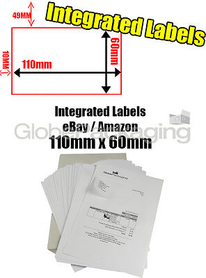 100 x EBAY / AMAZON A4 INTEGRATED LABELS 110x60mm (S14 / G14) ADDRESS PEEL OFF
