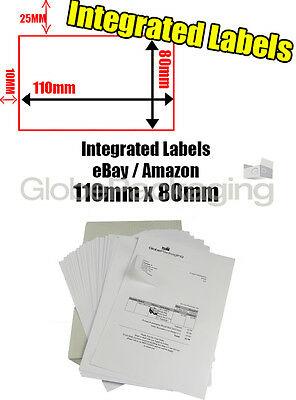 250 x EBAY / AMAZON A4 INTEGRATED LABELS 110x80mm (S11 / G11) ADDRESS PEEL OFF