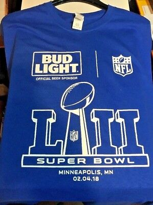 NEW* BUD LIGHT BEER SUPER BOWL LII (52) SHIRT, MENS XL, BLUE ,NFL, EAGLES- PATS