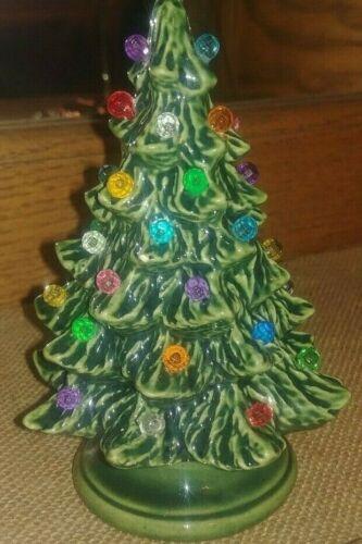 "Ceramic Christmas Tree 4.75"" - Miniature - Lighted - Green"