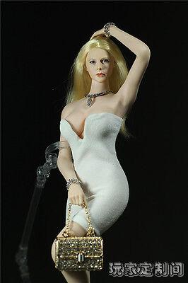 1/6 Custom White Bodycon Skirt Low Cut Overbust Dress For 12