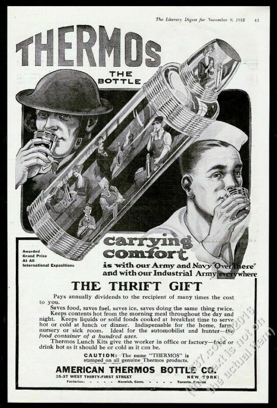 1918 Thermos bottle soldier sailor workers art vintage print ad