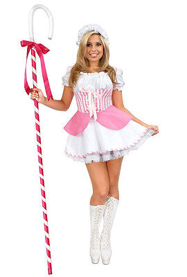 Little Bo Peep Fairy Tale Storybook Dress Up Halloween Adult Costume 3 COLORS (Peep Costumes)