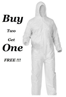 White Tyvek Disposable Coveralls Bunny Suit Hood Dust Spray Proof Coverall Suit
