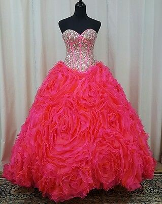 NEW Princess by Mary's XV Sweet 16 Quinceanera Dress 4Q915 Neon Pink Size 8 ()